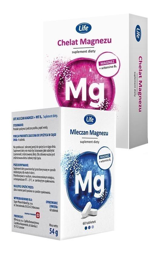 LIFE Chelat magnezu + B6 30 kaps. lub Mleczan magnezu 60 tabl.*
